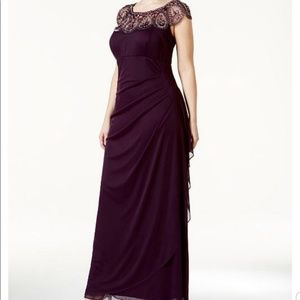 XSCAPE purple mesh beaded ruched evening dress 14